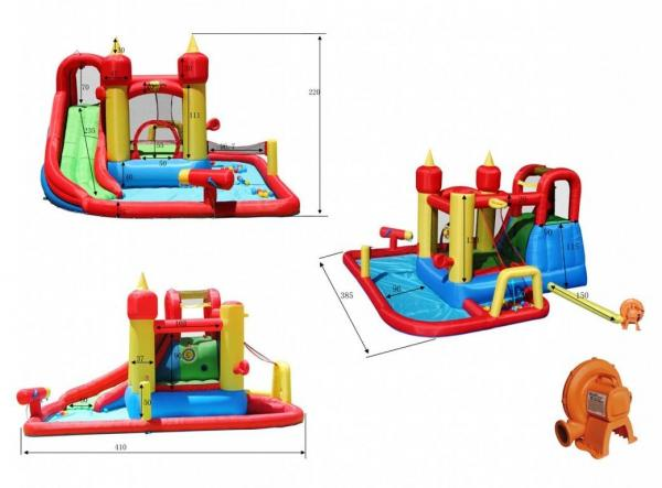 Duplay Happy Hop Inflatable Jump and Splash Funland Inflatable Waterslide 9016-5212