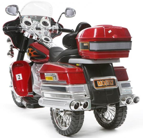 Kids Rocket Harley 12v Electric / Battery Cruiser Deluxe Ride On Motorbike - Red-3252