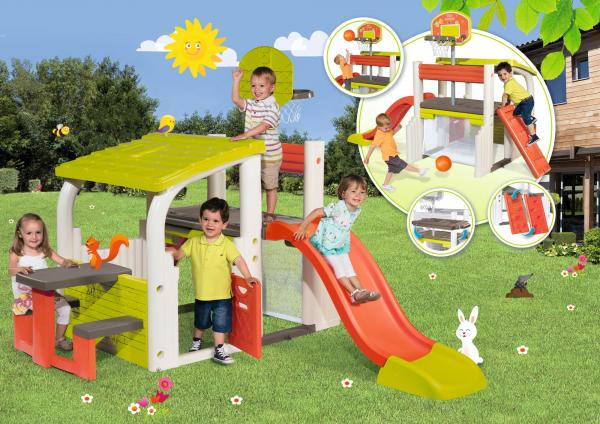Smoby Fun Centre Playhouse with Slide-15724