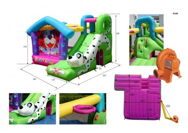 Duplay Happy Hop Inflatable Puppy Land Bouncy Castle with Slide 9109-5895