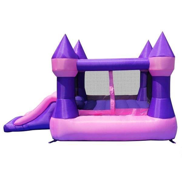 Duplay Happy Hop Inflatable Bounce 'n' Slide Pink Turret Bouncy Castle 9017P-4448