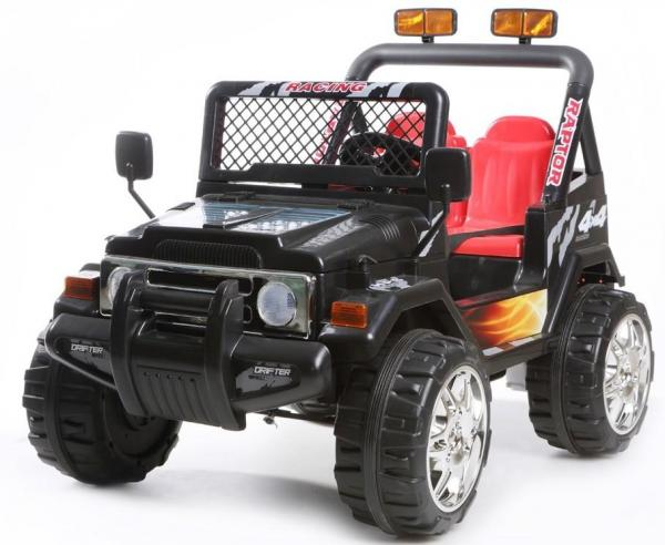 Kids 2 Seater 12v Electric / Battery Ride on Electric Jeep 4x4 Black-0