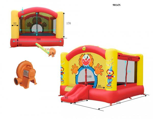 Duplay Happy Hop Inflatable Super Clown Bouncy Castle with Slide 9014N-6676
