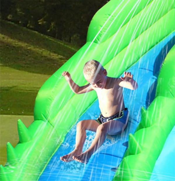 Duplay Happy Hop Inflatable Crocodile Double Water Slide and Paddling Pool 9517-6687