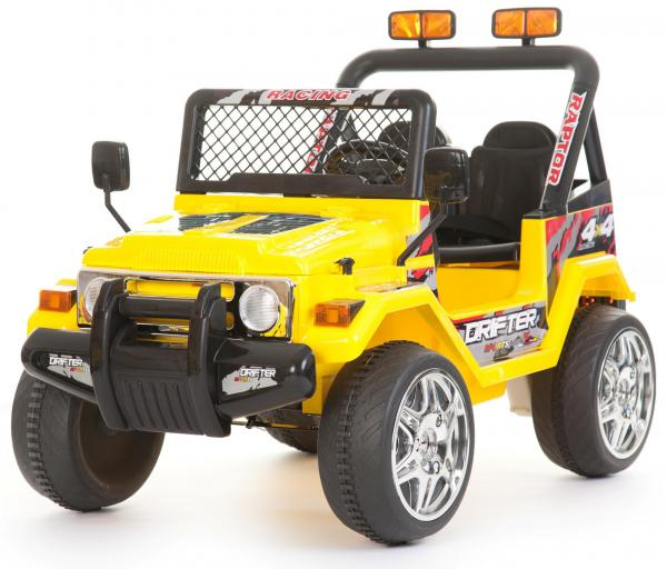 Kids 2 Seater 12v Electric / Battery Ride on Electric Jeep 4x4 Yellow-0