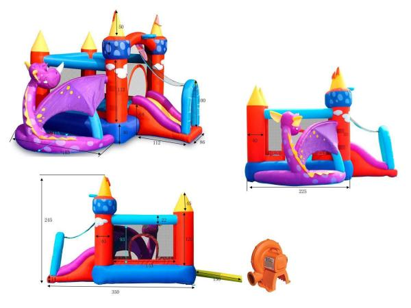 Duplay Happy Hop Inflatable Dragon Quest Bouncy Castle With Slide 9022-6718