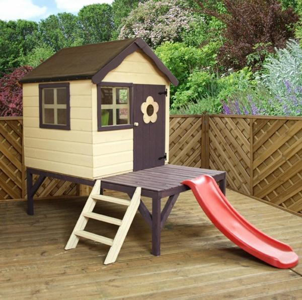 Mercia 4 x Snug Wooden Playhouse / Wendy House with Tower and Slide-0