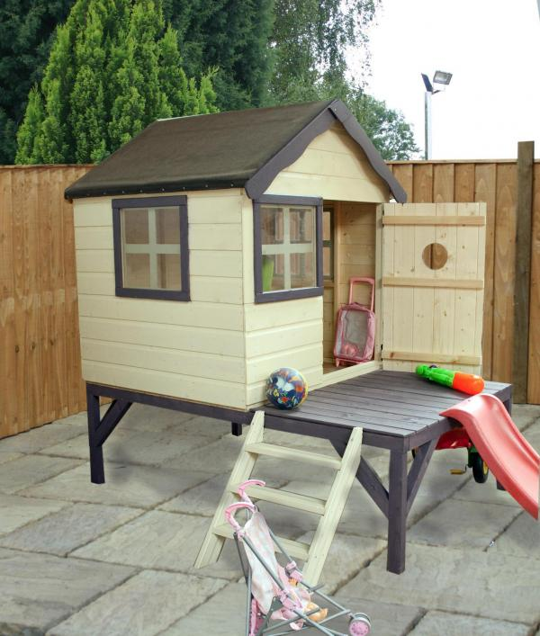Mercia 4 x Snug Wooden Playhouse / Wendy House with Tower and Slide-7456