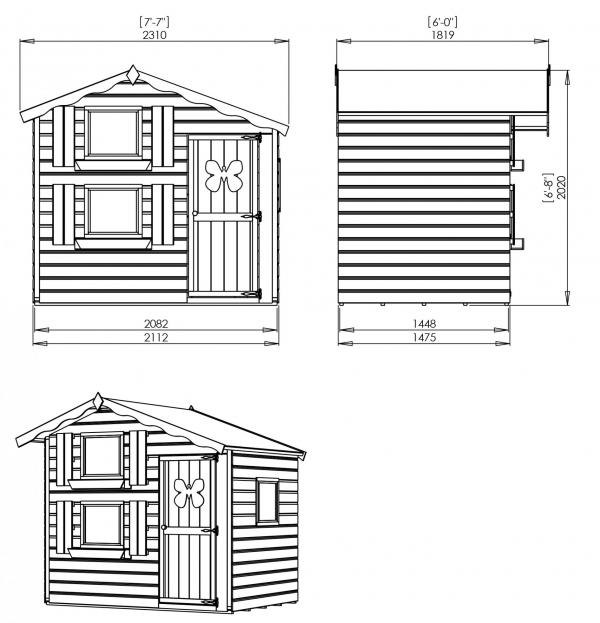 Mercia 7 x5 Double Storey Snowdrop Cottage Wooden Playhouse / Wendy House-7380