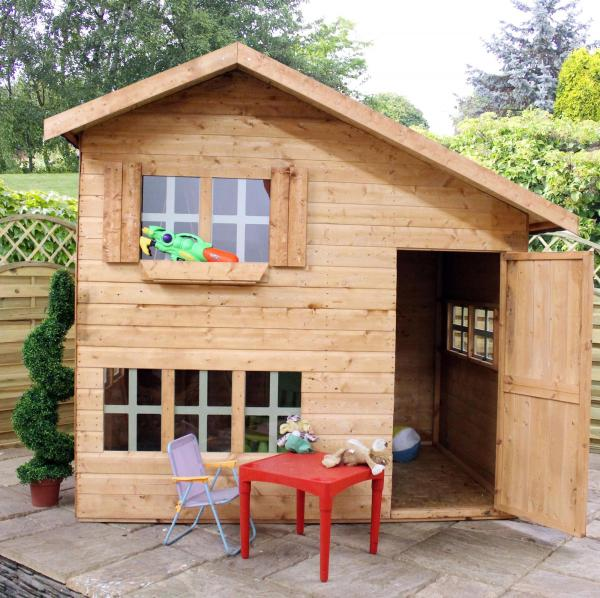 Mercia 8 x 6 Double Storey Bramble Cottage Wooden Playhouse / Wendy House-7391