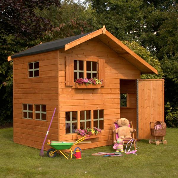 Mercia 8 x 6 Double Storey Bramble Cottage Wooden Playhouse / Wendy House-0