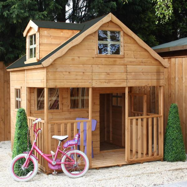 Mercia 7 x 7 Double Storey Wooden Playhouse / Wendy House with Dorma Window-7402