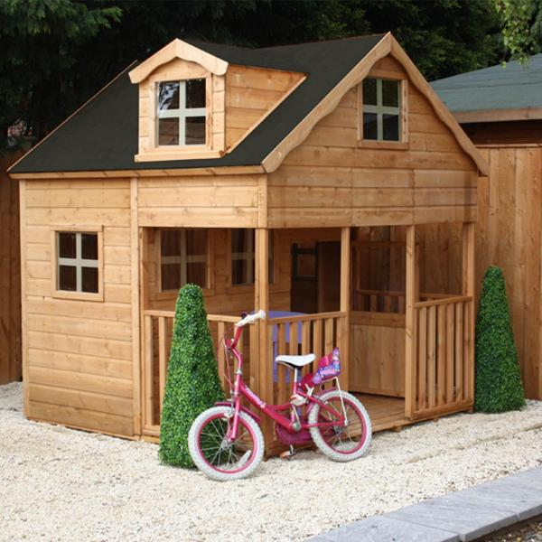 Mercia 7 x 7 Double Storey Wooden Playhouse / Wendy House with Dorma Window-0