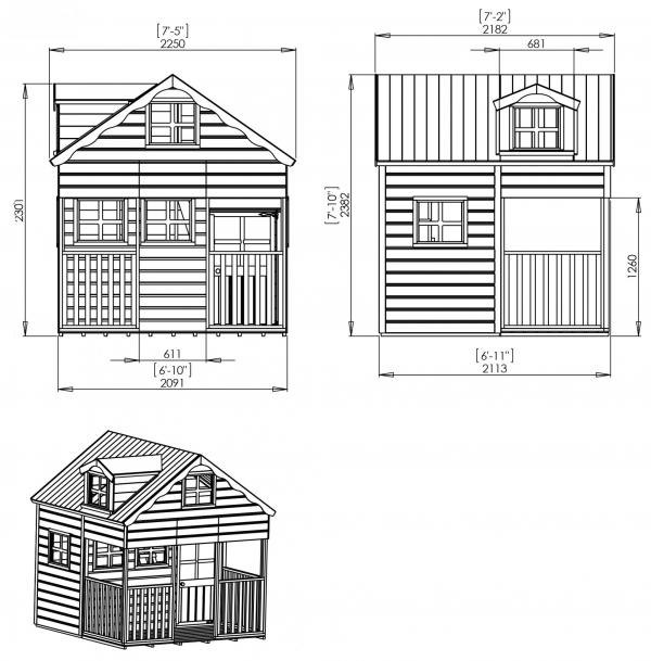 Mercia 7 x 7 Double Storey Wooden Playhouse / Wendy House with Dorma Window-7403