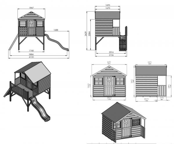 Mercia Honeysuckle Wooden Playhouse / Wendy House with Tower and Slide-7432