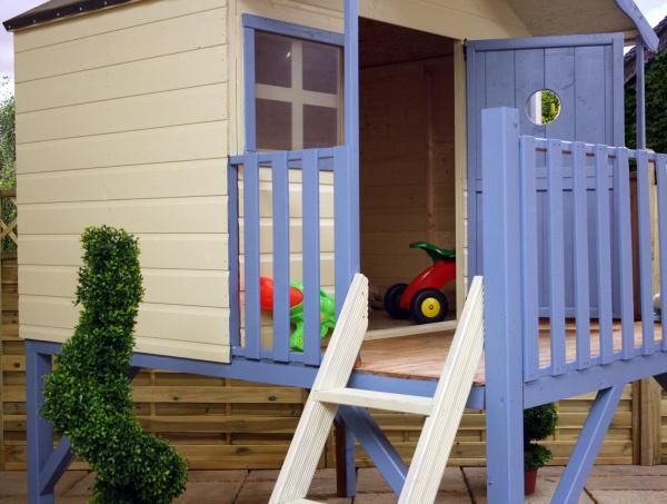 Mercia Honeysuckle Wooden Playhouse / Wendy House with Tower and Slide-7434