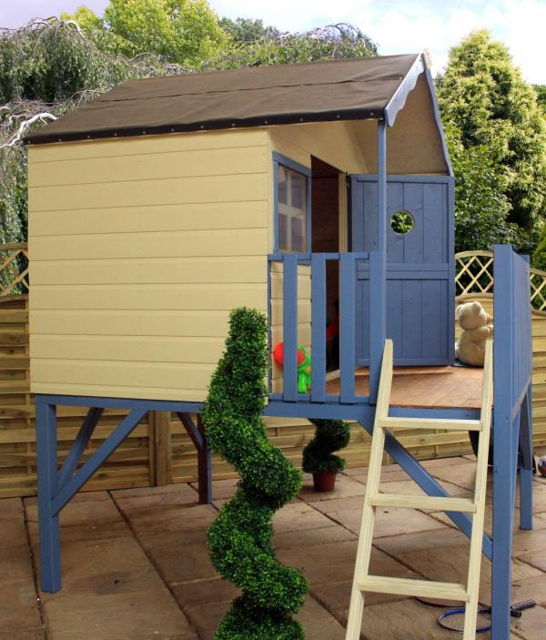 Mercia Honeysuckle Wooden Playhouse / Wendy House with Tower and Slide-7433