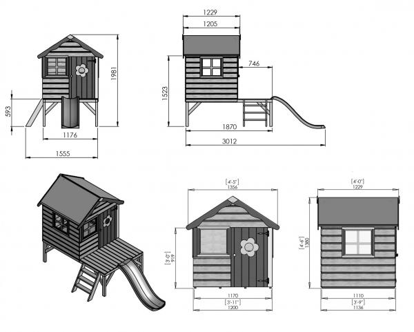 Mercia 4 x Snug Wooden Playhouse / Wendy House with Tower and Slide-7455