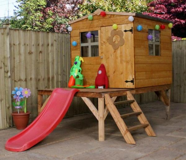 Mercia Bluebell Wooden Playhouse / Wendy House with Tower and Slide-0