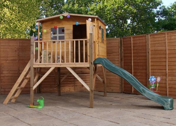 Mercia Rose Wooden Playhouse / Wendy House with Tower and Slide-0