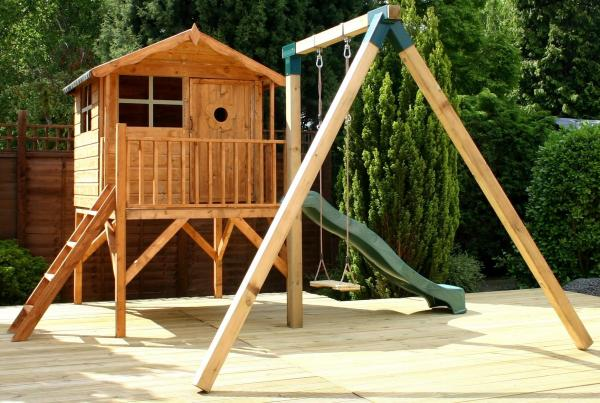 Mercia Tulip Wooden Playhouse / Wendy House with Activity set-0