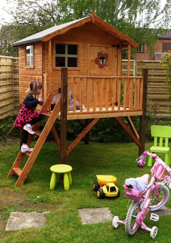Mercia Tulip Wooden Playhouse / Wendy House with Tower-7194