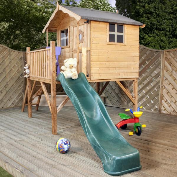 Mercia Tulip Wooden Playhouse / Wendy House with Tower and Slide-7200