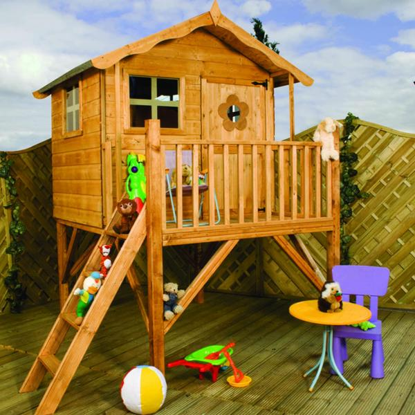Mercia Tulip Wooden Playhouse / Wendy House with Tower-0