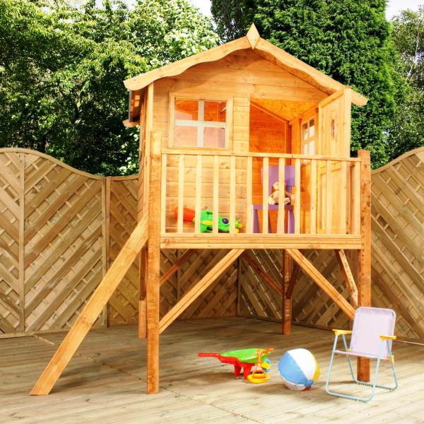 Mercia Tulip Wooden Playhouse / Wendy House with Tower-7195