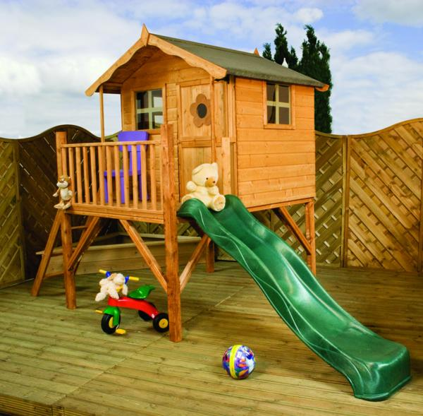 Mercia Tulip Wooden Playhouse / Wendy House with Tower and Slide-0