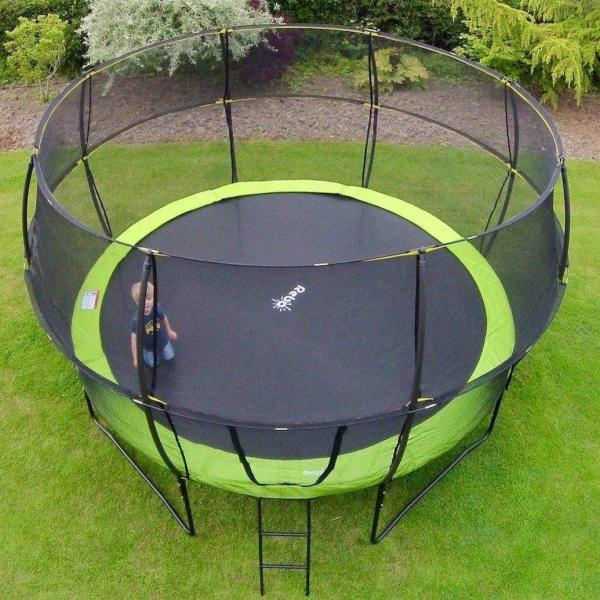 Rebo Green 12FT Base Jump Trampoline With Halo II Enclosure-8941