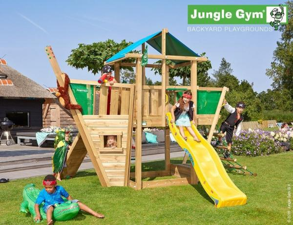 Jungle Gym Wooden Jungle Hut Climbing Frame Playset with Boat Module-9353