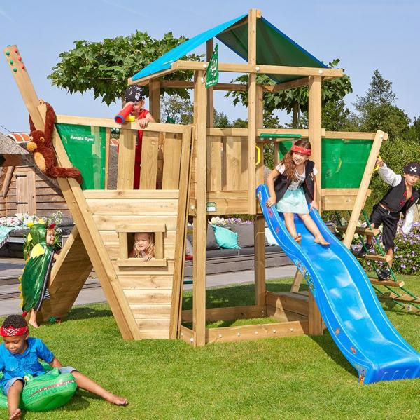 Jungle Gym Wooden Jungle Hut Climbing Frame Playset with Boat Module-9453