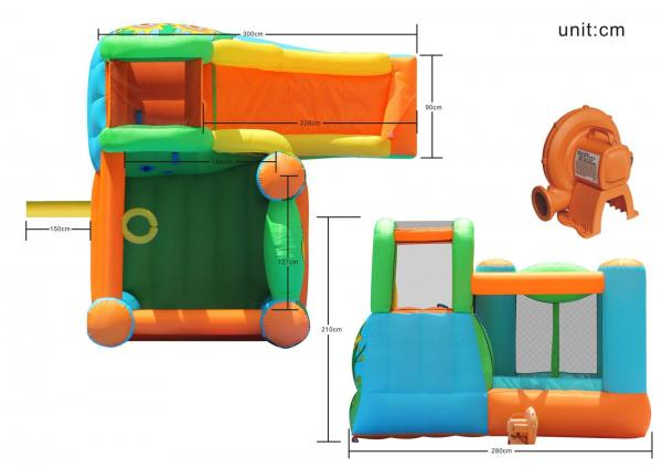 Duplay Happy Hop Inflatable Jungle Adventure Kids 10ft Bouncy Castle with Slide 9171N-9422