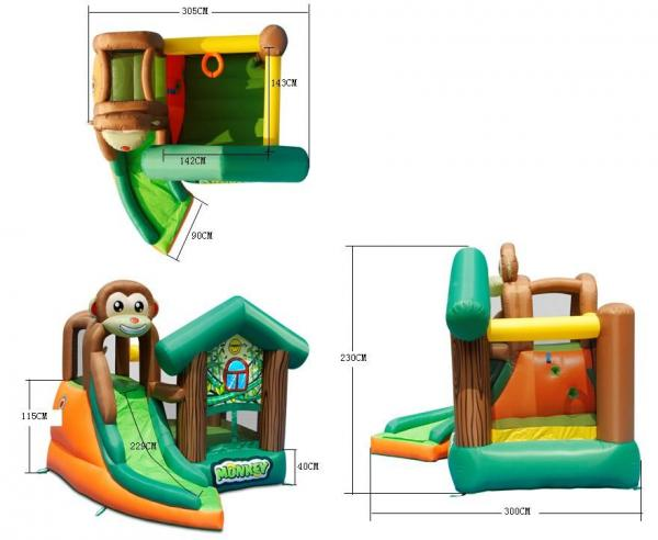 Duplay Happy Hop Inflatable Monkey Jungle 10ft Bouncy Castle with Slide 9471-9411