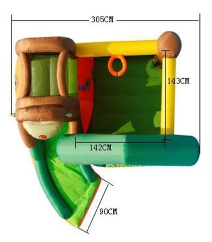 Duplay Happy Hop Inflatable Monkey Jungle 10ft Bouncy Castle with Slide 9471-9412