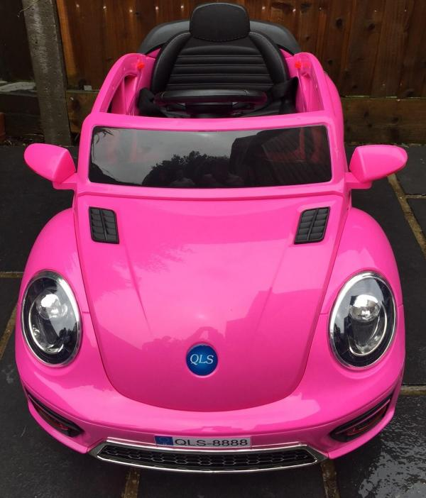 Pink ride on car - VW Style Bug Convertible 12v-10008