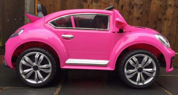 Pink ride on car - VW Style Bug Convertible 12v-10004