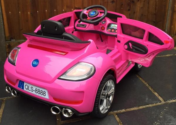 Pink ride on car - VW Style Bug Convertible 12v-10002
