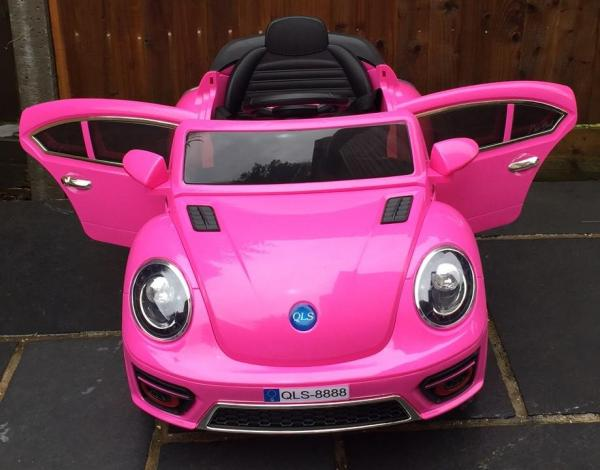 Pink ride on car - VW Style Bug Convertible 12v-10000