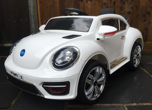 Kids Convertible Bug - Electric / Battery 12v Ride on Car - White-0