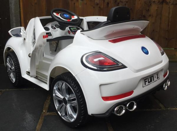 Kids Convertible Bug - Electric / Battery 12v Ride on Car - White-10582