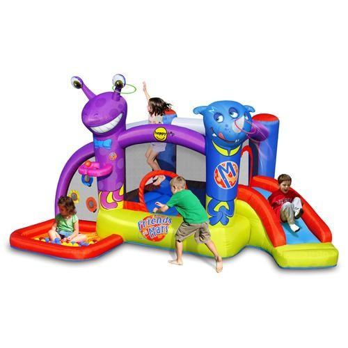 Duplay Happy Hop Friends on Mars Bouncy Castle with Slide and Ball Pit-10507