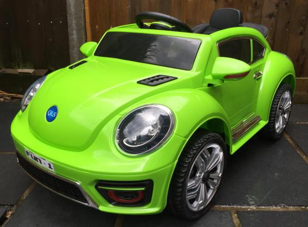 Kids Convertible Bug - Electric / Battery 12v Ride on Car - Green-0