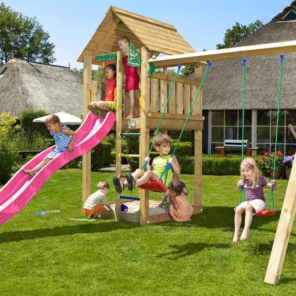 Jungle Gym Wooden Cabin Climbing Frame / Playset with Double Swing Module-10483