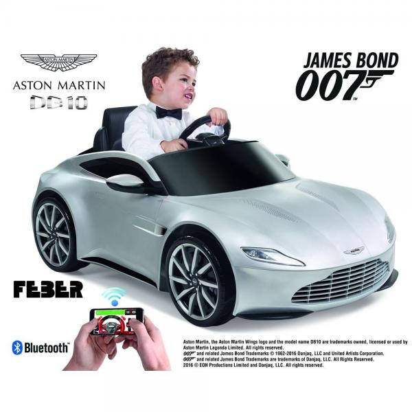 Kids Feber Aston Martin DB10 Electric / Battery 6v Ride on car with smartphone controller - Silver-0