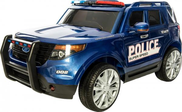 Kids Police Range Rover style 4x4 12v Electric Jeep - Blue-0