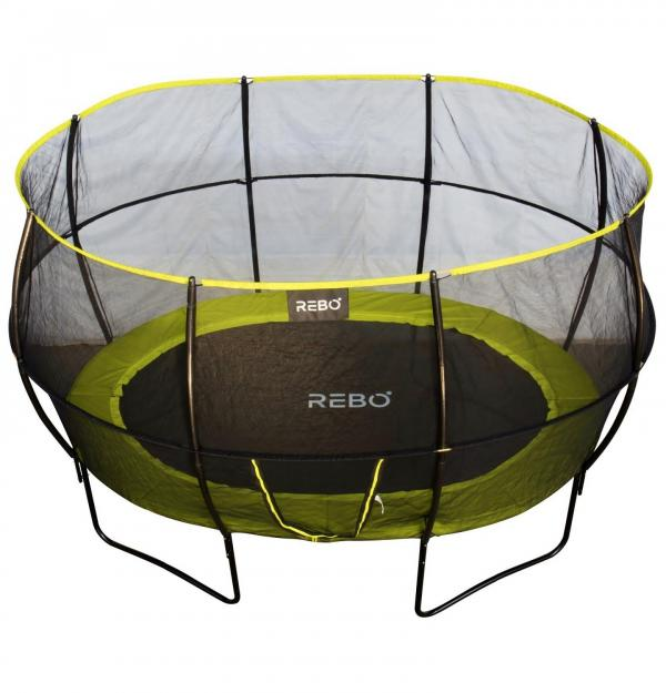 Rebo 8ft x 11ft Oval Base Jump Trampoline With Halo II Enclosure - Green-12127
