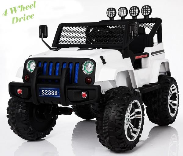 Wrangler Jeep 4x4 style ride on car - White 4WD-0