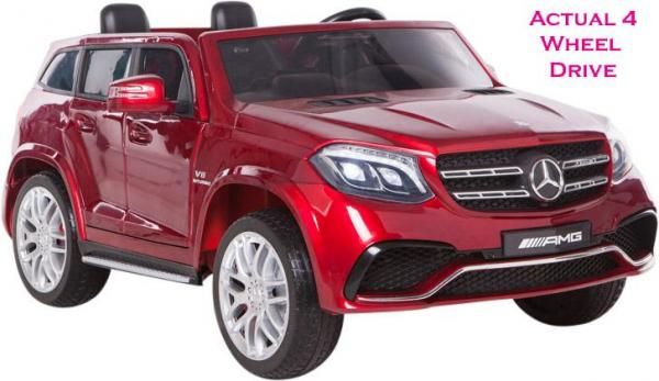 Mercedes 2 seater Licensed GLS 63 AMG SUV 4WD Jeep Electric Battery Ride on Car Metalic Red -0